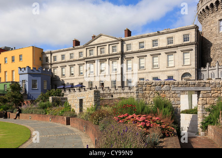 View to State Apartments of Dublin Castle next to Record Tower from the gardens. Dublin, Republic of Ireland, Eire - Stock Photo
