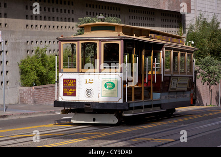 Empty cable car on the Powell and Hyde line at the intersection of Powell and California Streets - Stock Photo