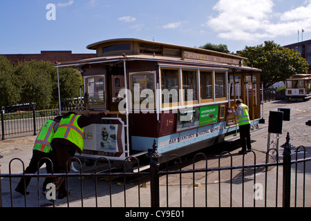 The driver and brakeman push a cable car around on the turntable at the end of the Powell and Hyde cable car route - Stock Photo