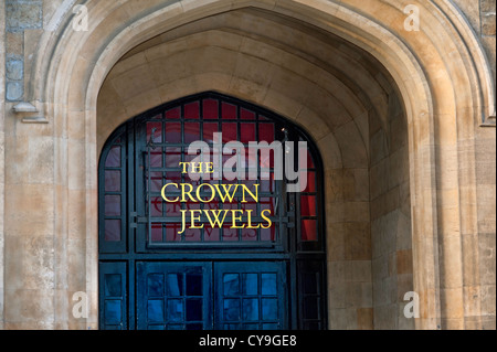 The Crown Jewels sign at the entrance to the Jewel House Tower of London London EC3 UK - Stock Photo