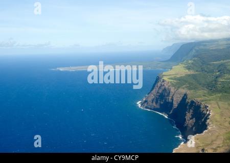 Elk284-6254 Hawaii, Molokai, Kalaupapa Peninsula NHS, from above - Stock Photo