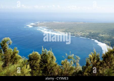 Elk284-6257 Hawaii, Molokai, Kalaupapa Peninsula NHS, from above - Stock Photo