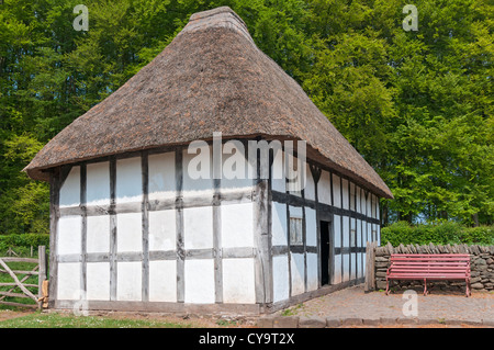 Wales, St. Fagans National History Museum, relocated Abernodwydd Farmhouse, built 1678, in use til 1936 - Stock Photo