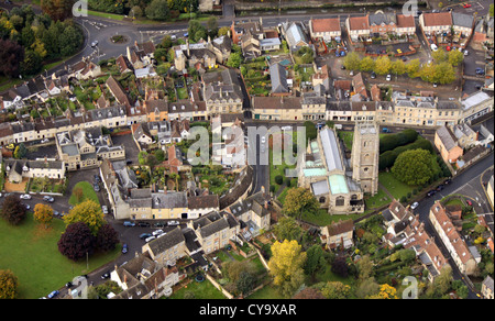 aerial view of Calne in Wiltshire, with St Mary the Virgin parish church - Stock Photo
