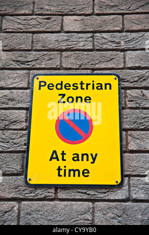 A 'Pedestrian Zone' sign - Stock Photo