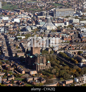 aerial view of Liverpool's two cathedrals, The Anglican and Catholic Metropolitan Cathedral of Christ the King - Stock Photo