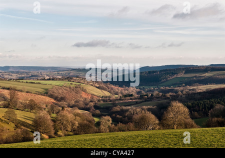 The view in autumn from Stonewall Hill, Herefordshire, looking south towards the Black Mountains in the distance - Stock Photo