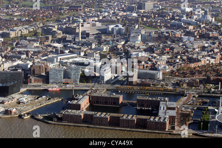 aerial view of Royal Albert Dock, Liverpool with city centre beyond - Stock Photo