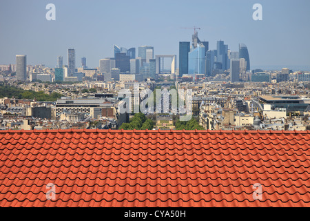 The view from the roof of the diverse architecture of Paris, France. - Stock Photo