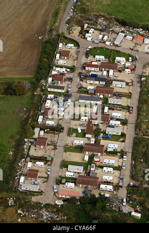 aerial view of a gypsy traveller caravan site near Peterborough - Stock Photo