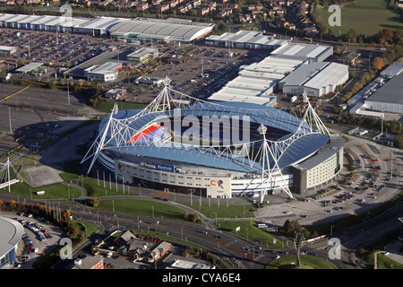 aerial view of the Bolton Wanderers Reebok Stadium, UK - Stock Photo