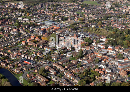 aerial view of Thorne town, Yorkshire - Stock Photo