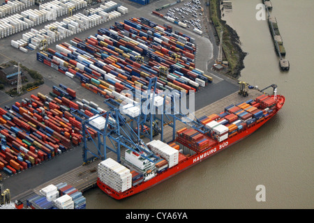 aerial view of a container ship The Hamburg Sud at Tilbury Docks, Essex, UK - Stock Photo