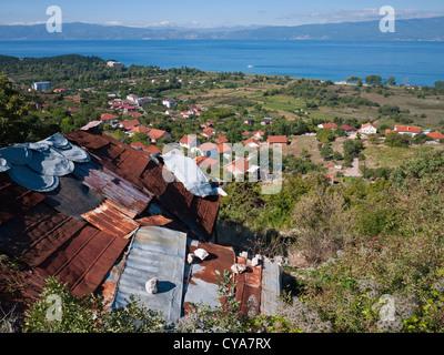 Lake Ohrid, viewed from the hillside above Ohrid town, near the village of Velestovo. Republic of Macedonia. - Stock Photo