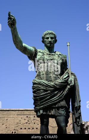 italy, rome, statue of roman emperor julius caesar augustus - Stock Photo