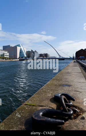 The Samuel beckett bridge in Dublin, designed by Santiago Calatrava. - Stock Photo