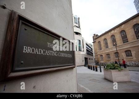 BBC British Broadcasting Corporation,Broadcasting House, Portland Place, London, England, United Kingdom - Stock Photo