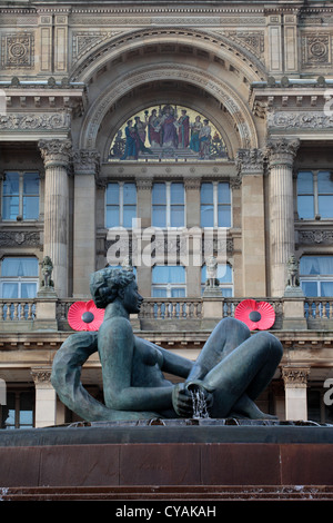 The River sculpture in Victoria Square Birmingham, showing the Council House in the background. - Stock Photo