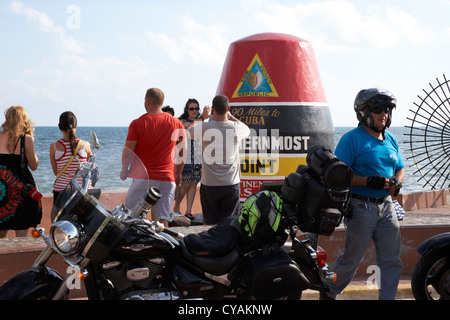 tourists at southernmost point of continental usa in key west florida usa - Stock Photo