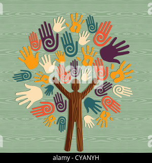 Global diversity man as trunk tree hands illustration. Vector file layered for easy manipulation and custom coloring.