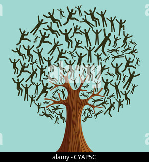 Isolated Diversity tree people illustration. Vector file layered for easy manipulation and custom coloring. - Stock Photo