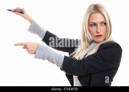 Teaching in front of whiteboard - Stock Photo