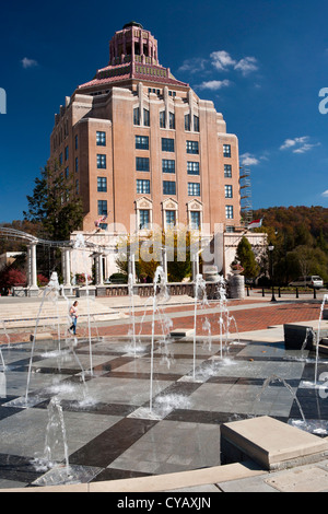 Asheville City Hall - Pack Square - Asheville, North Carolina USA - Stock Photo
