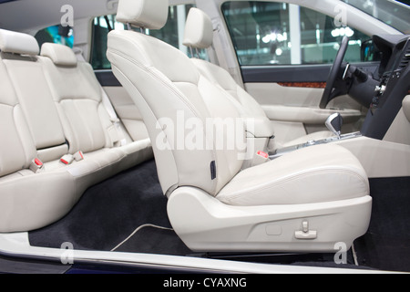 Seats and panorama window in modern white sport car, back view,Seats and panorama window in modern white sport car, - Stock Photo