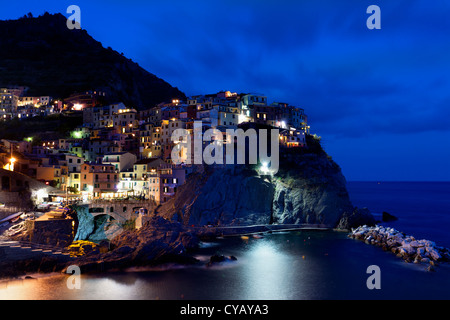 Night view of Manarola (Cinque Terre,Italy) - Stock Photo