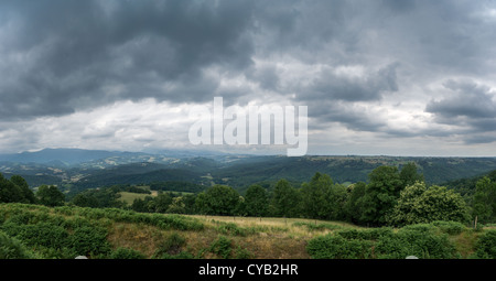 View of vicinities of Mauvezin village in Hautes-Pyrénées, France - Stock Photo