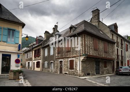 Street of a small town Arreau in Hautes-Pyrénées, France - Stock Photo