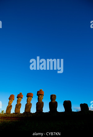 Moais In Ahu Nau Nau At Anakena Beach, Easter Island, Chile  - Stock Photo