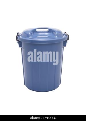 Blue plastic Trash can - Stock Photo