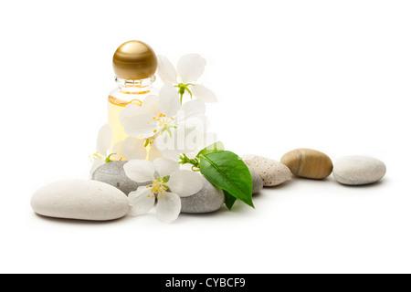 Apple tree flowers, stones and shampoo - Stock Photo
