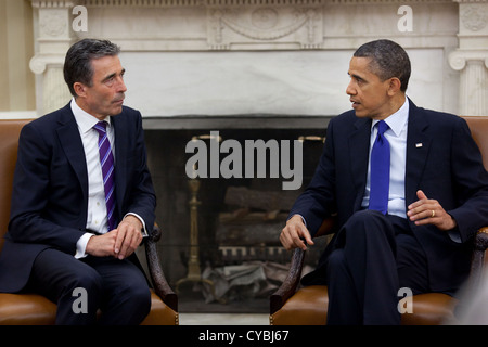 US President Barack Obama meets with NATO Secretary General Anders Fogh Rasmussen May 13, 2011 in the Oval Office - Stock Photo
