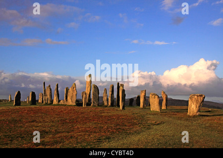 UK Scotland Outer Hebrides Isle of Lewis Callanish Standing Stones - Stock Photo