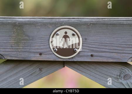 Access land signage on wooden gate. Dorset, UK. - Stock Photo