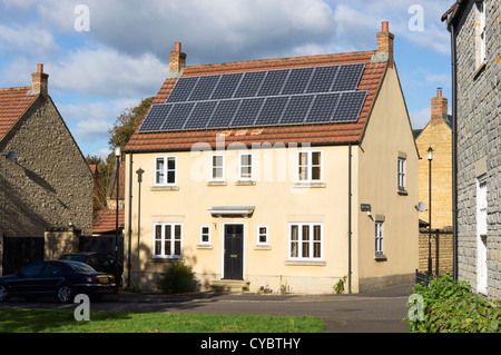 Solar panels - on a residential house, England, UK - Stock Photo