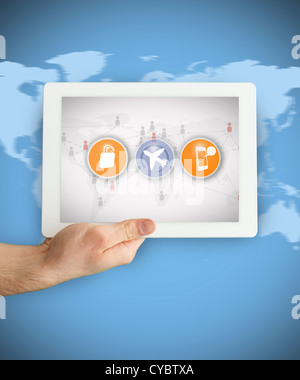 Tablet PC showing symbols - Stock Photo