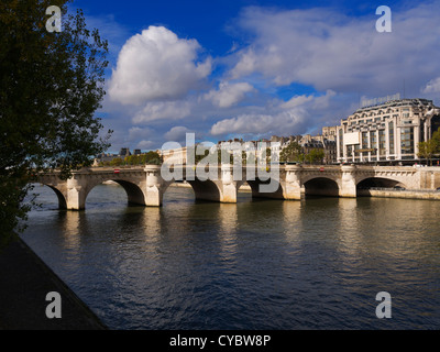 Pont Neuf over the Seine River, Paris. The 'new Bridge' is the oldest standing bridge on the Seine. It was completed - Stock Photo