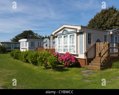 Luxury Mobile Homes / trailers on a caravan park - Stock Photo