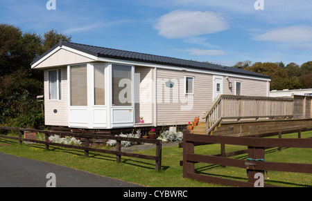 A Luxury static Mobile Home on a caravan park - Stock Photo