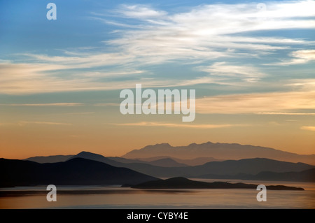 Panoramic view of the Pagasitic Gulf and mainland Greece - Stock Photo