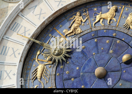 Astronomical Clock Tower (Torre dell'Orologio) Details. St. Mark's Square (Piazza San Marko), Venice, Italy. - Stock Photo