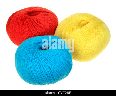 skeins of peruvian highland wool yarn in primary colors red, blue, yellow - Stock Photo