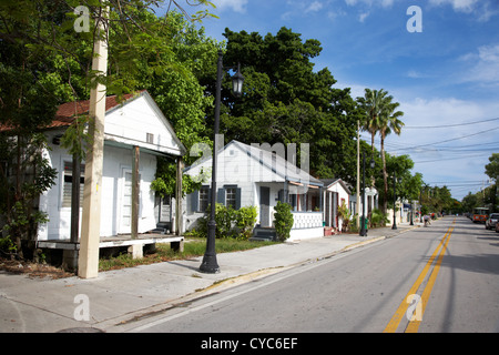 typical key west cottages conch shacks whitehead street florida usa - Stock Photo