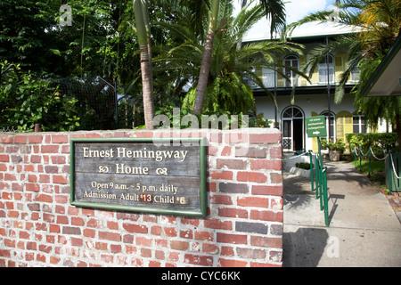 entrance to ernest hemingways house key west florida usa - Stock Photo