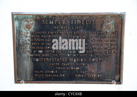 semper fidelis united states marines plaque key west florida usa - Stock Photo