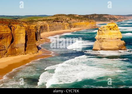 Twelve Apostles, famous landmark along the Great Ocean Road, Australia - Stock Photo