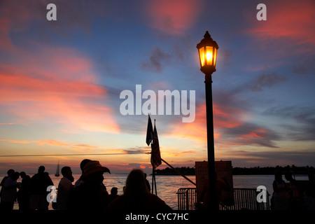evening sunset celebrations mallory square key west florida usa - Stock Photo